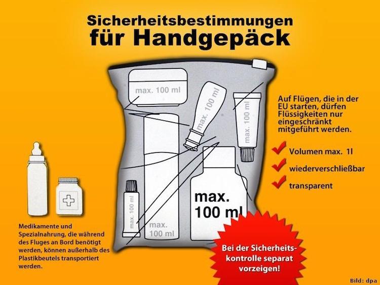Bestimmungen Handgepäck Reisen mit Handgepäck
