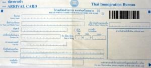 ArrivalCardThaiFront Thailand Visum