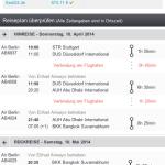 Nach Auswahl eines Fluges erscheinen die exakten Flug- und Reisezeiten inklusive aller Umsteigeverbindungen