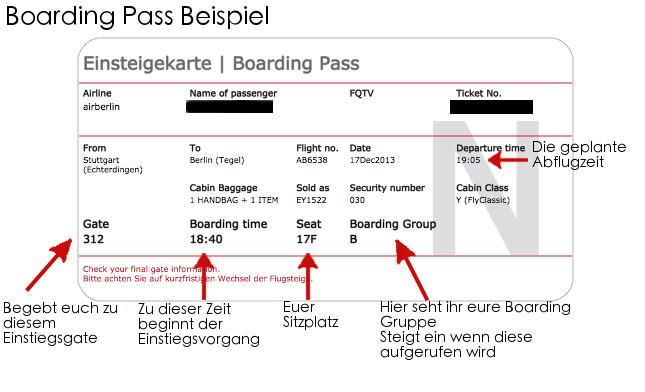 Boarding Pass Beispiel