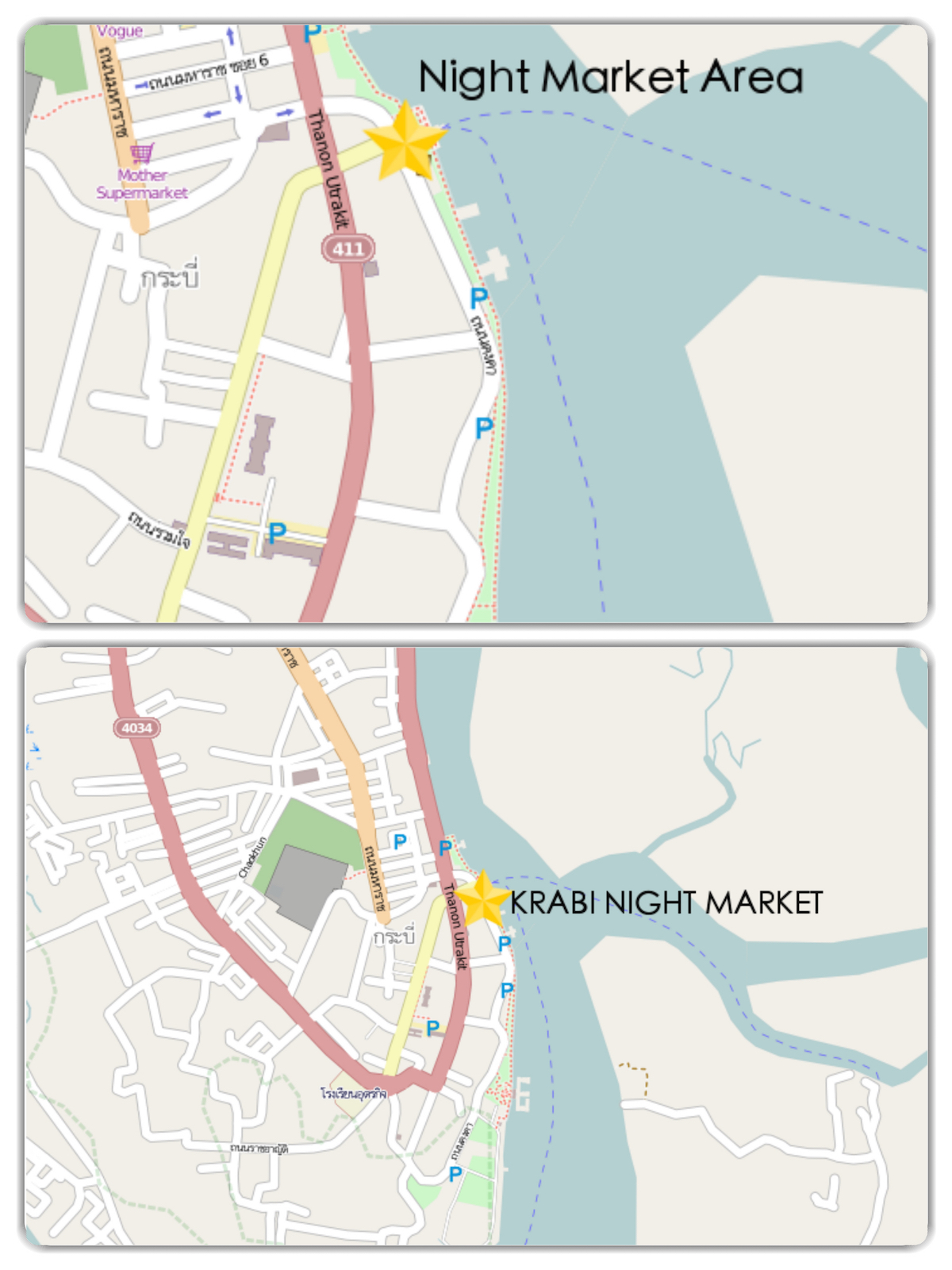 Krabi Night Market Map