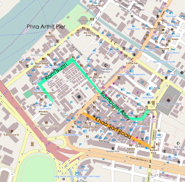 Map Khao San Road Area