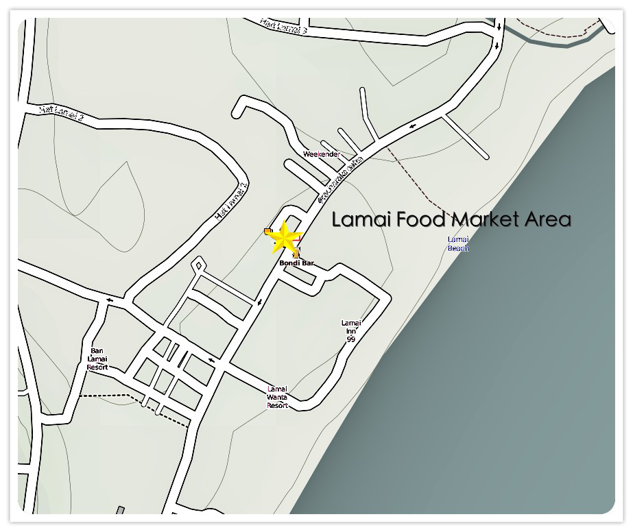 Lamai Beach Night Food Market Map