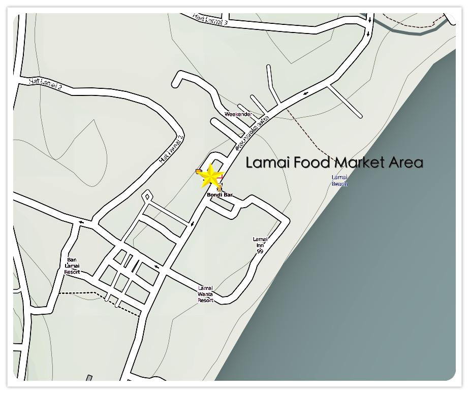 Lamai Beach Night Food Market Map