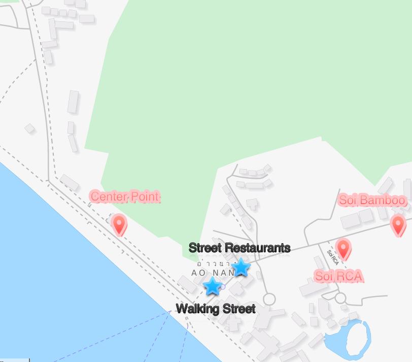 Nachtleben Ao Nang Karte - Ao Nang Nightlife Map
