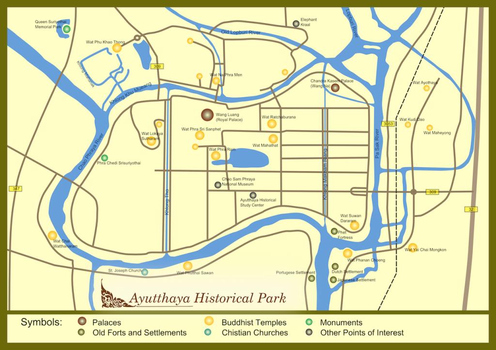 Ayutthaya Sehenswürdigkeiten Map Karte