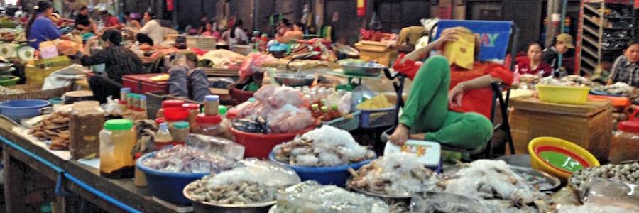 Old Market Siem Reap Kambodscha Fischsstand