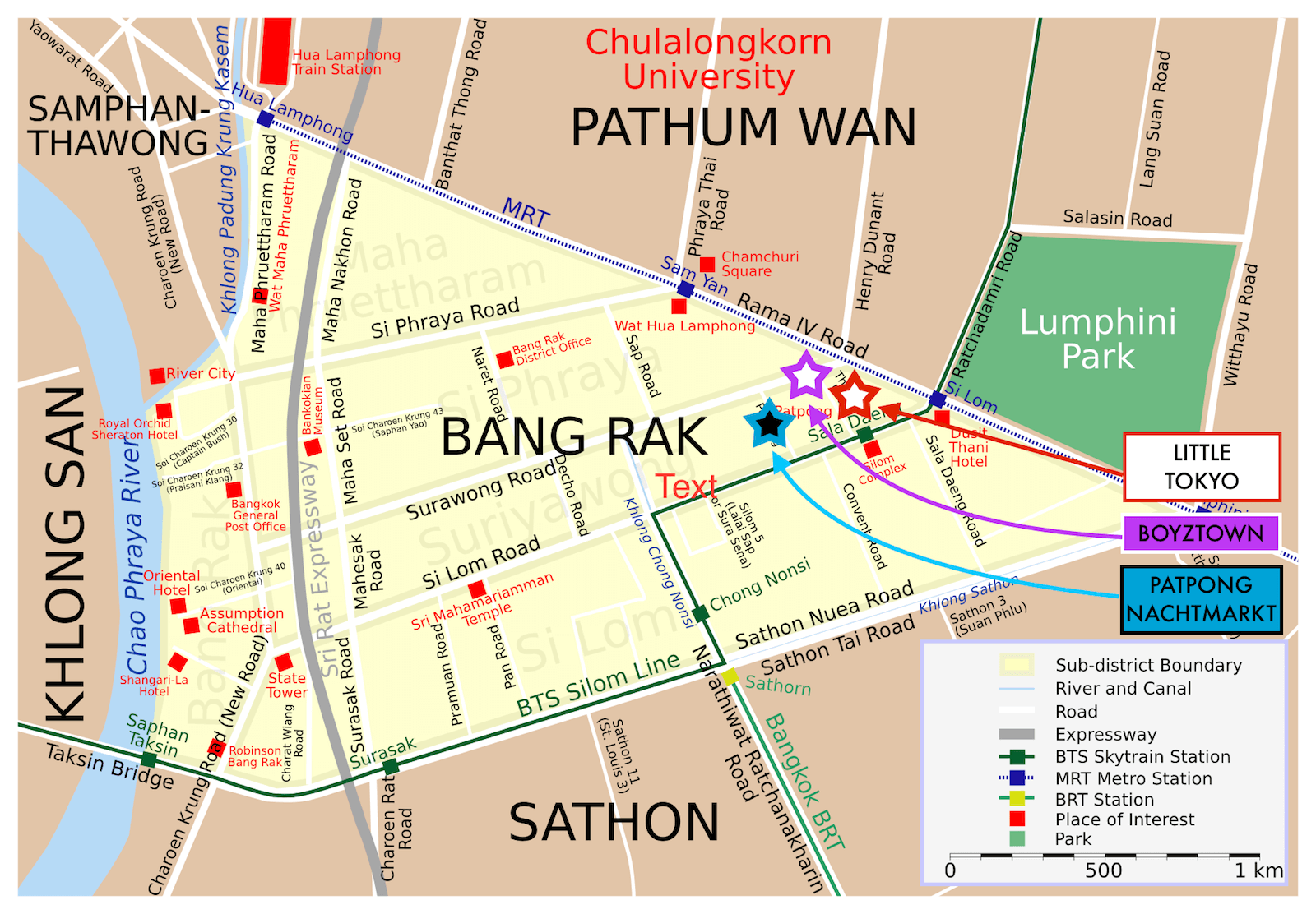 Bang Rak Bangkok Map
